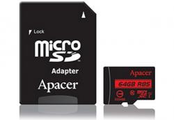 Фото Карта памяти microSDXC 64Gb Apacer UHS-I U1 (+ adapter SD) (R85MB/s) (AP64GMCSX10U5-R)